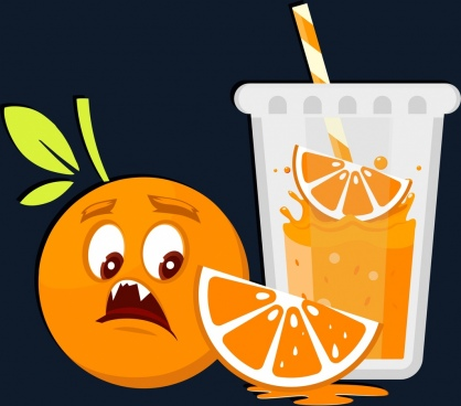 orange juice background funny stylized design scary emotion