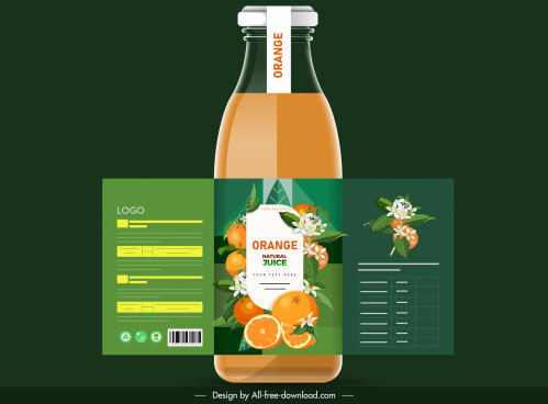 orange juice bottle template colorful modern fruits floral