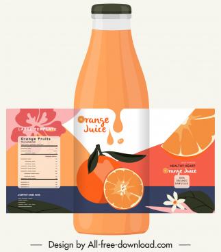 orange juice bottle template colorful retro decor