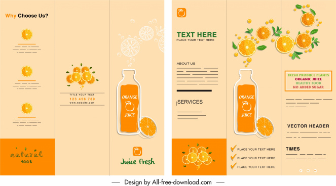 orange juice brochure classic flat colored sketch