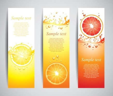 orange juice drinks banner vector graphics