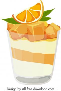 orange juice icon bright colored classic 3d sketch