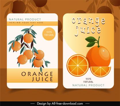 orange juice label templates bright colored flat decor