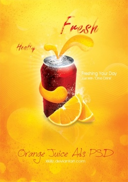 orange juice soda posters psd layered