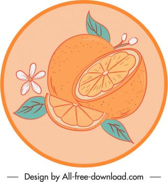 orange label template handdrawn slices sketch retro design