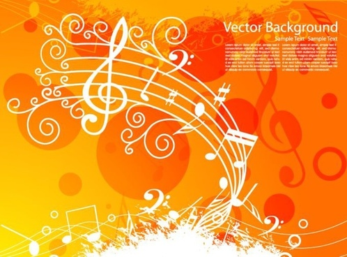 music background notes icons white orange decor