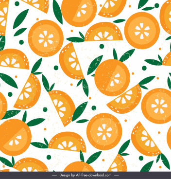 orange pattern template flat retro slices decor