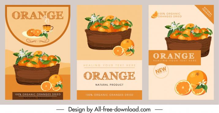 orange product leaflet templates retro handdrawn design