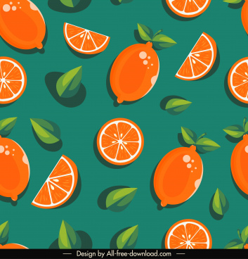 orange slices pattern template flat classical handdrawn repeating