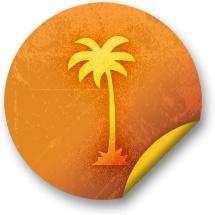 Orange sticker badges 033