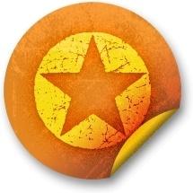Orange sticker badges 036