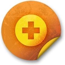 Orange sticker badges 038