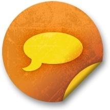 Orange sticker badges 042