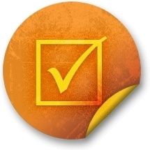 Orange sticker badges 044