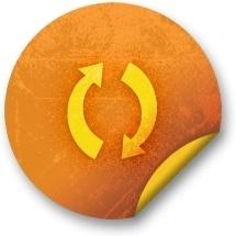Orange sticker badges 054