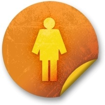 Orange sticker badges 065