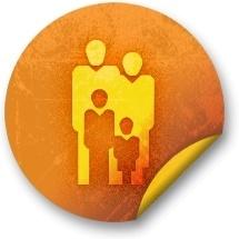 Orange sticker badges 086