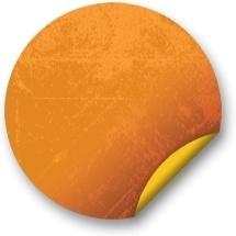 Orange sticker badges 088