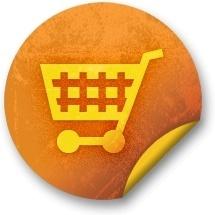 Orange sticker badges 128