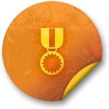 Orange sticker badges 139