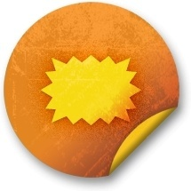 Orange sticker badges 148