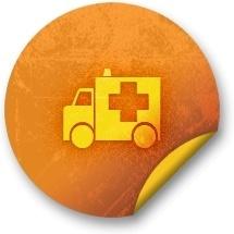 Orange sticker badges 174
