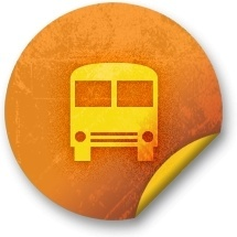 Orange sticker badges 215