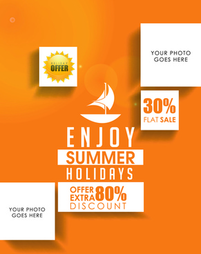 orange styles summer holiday vector poster