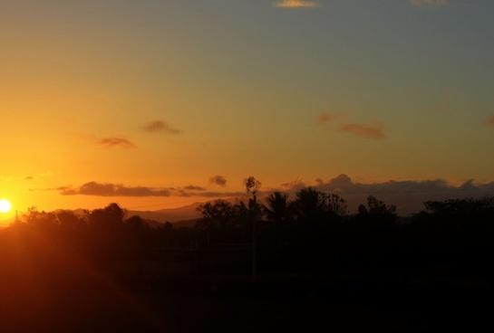 orange sunset at pignon haiti