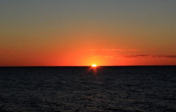 orange sunset at washington island wisconsin