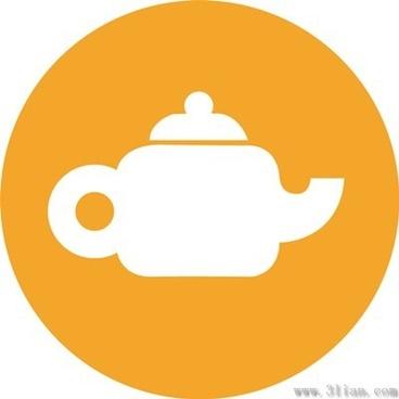 orange teapot icon vector