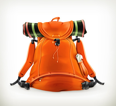 orange travel backpack vector