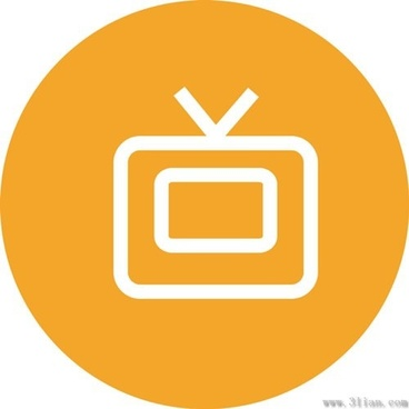 orange tv icon vector