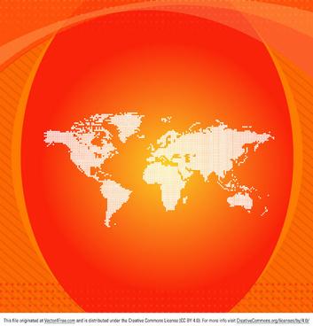 orange vector world map