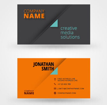orange with black business card vector