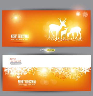 orange xmas banner vector