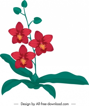 orchid flora icon classical red green handdrawn sketch