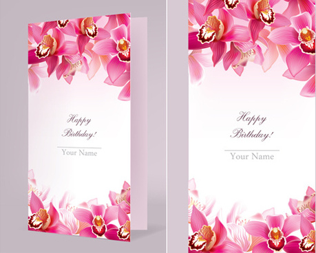 orchids happy birthday card vector