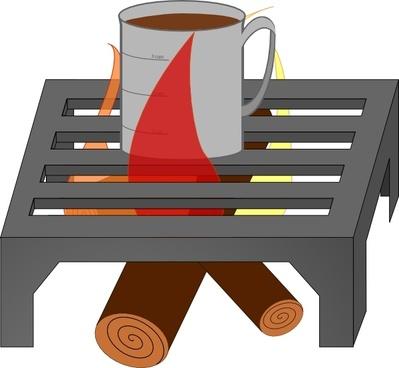 Oreomasta Coffee Cup Over Fire Grate clip art