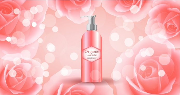 organic cosmetic advertisement bokeh roses background realistic design