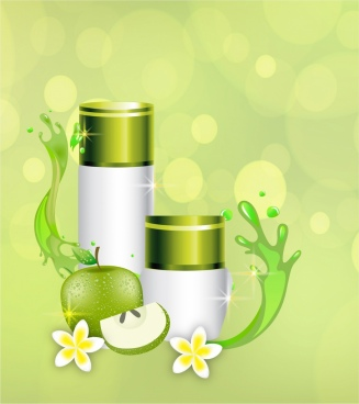 organic cosmetic advertisement flowers apple cream tube icons