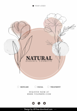 organic cosmetic advertising banner handdrawn floral sketch
