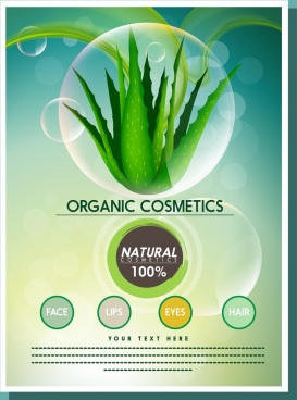organic cosmetic promotion banner aloe icon ornament