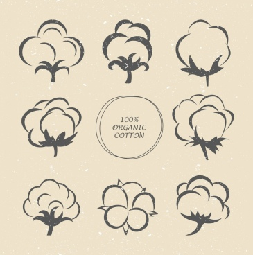 organic cotton advertisement silk flowers icons retro sketch