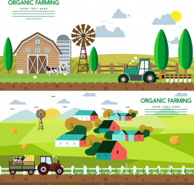 organic farming advertisement colored cartoon decoration