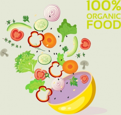 organic food advertisement ingredient vegetables bowl icons decor