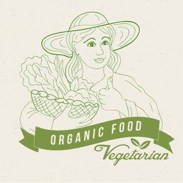 organic food advertisement woman icon green sketch