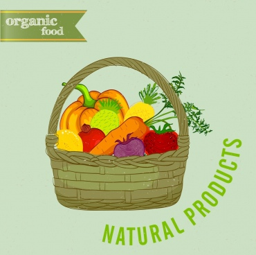 organic food advertising fruit basket icon multicolored design