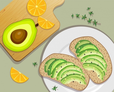organic food background avocado orange bread icons