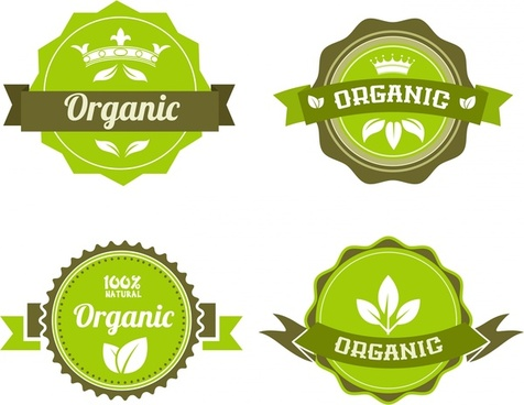 organic food badges collection in green circles